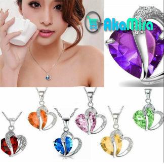 cadenas-de-plata-mujer-Corazon-Cristal